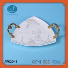 Plaque en porcelaine plaque d'impression en céramique, plaque peinte à la main, plaque en céramique