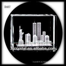 K9 3D Laser Estatua de la Libertad Dentro de Crystal Rectangle