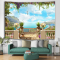 Sea View Flower Tapestry Möwe Berg Wandbehang Blue Spring Tapisserie Tropical Style Tapisserie für Schlafzimmer Home Dorm Decor