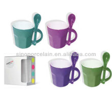 Colorful Speical Coffee Mug With Spoon Color Box For BS130520B