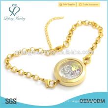 Fashion stainless steel floating locket charms bracelet, pearl chain bracelet