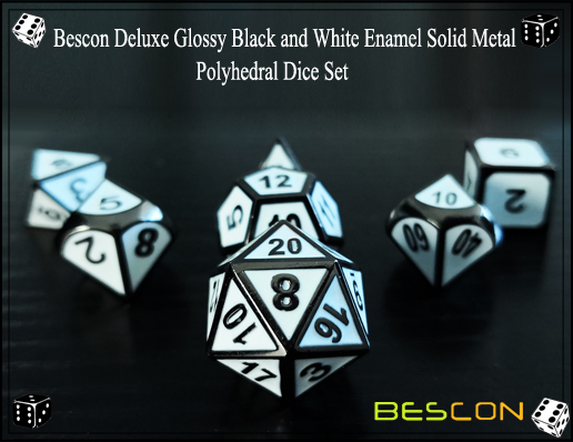 Bescon Deluxe Glossy Black and White Enamel Solid Metal Polyhedral Role Playing RPG Game Dice Set (7 Die in Pack)-1