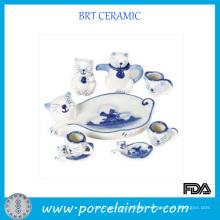 Cat Pattern Porcelain Tea Set