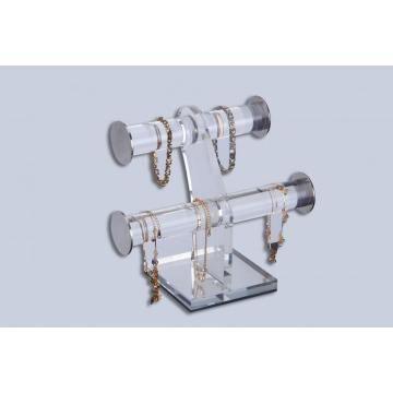 Stand Perhiasan Acrylic Clear Double Bar