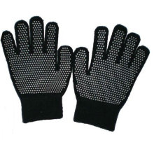 Black knitted nylon glove with PVC dots on the palm
