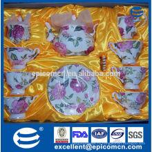 Золотые чайные чашки и тарелки из тонкого костяного золота, позолоченные чайные чашки, чайная посуда из розового цветка с чайником