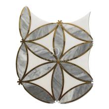 White Thassos Marble Gold Metal Brass Waterjet Mosaic Tile