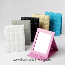 Wholesale Embossed Logo Folding Desktop Faux Leather Photo Frame & Mirror