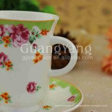 Couleur différente disponible nouvelles tasses et soucoupes noires et blanches de thé d'os de la Chine avec le prix exw