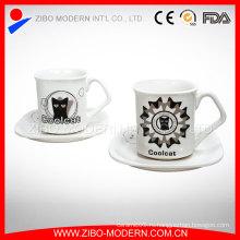 Оптовая Custom Керамические Эспрессо Кружка кофе чашки Фарфоровая тарелка