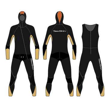 Seaskin Mens 2-Pieces Wetsuits Long John with Jacket
