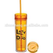 16oz Double wall plastic tumbler with straw