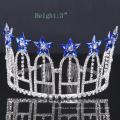 Flor del royalblue Coronas de la corona de la tiara del Rhinestone de la corona para la fiesta