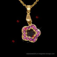 Moda flor de cristal encantos pingentes colar jóias presentes (FPN50824)
