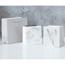 Different size white paper bag with handle