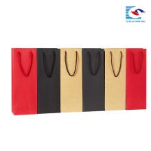 sacos de papel feitos sob encomenda do ofício do logotipo para o empacotamento da garrafa de vinho