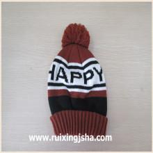chapéu de malha do logotipo do jacquard personalizado pompom