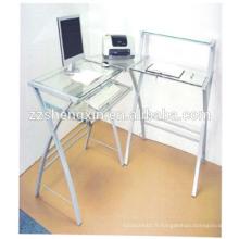 Bureau d'ordinateur en verre trempé avec tube en acier
