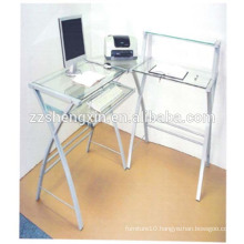 Tempered Glass Computer Desk with Steel Tube