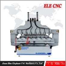 CNC grabado enrutador 8 cabezas con panel y función rotativa
