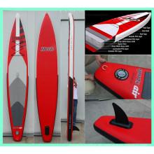 2015 Red Race Board, aufblasbares Surfbrett mit großer abnehmbarer Flosse
