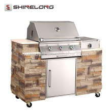 K959 Stainless Steel European Combined Outdoor Gas BBQ Barbecue Grill Tables Designs