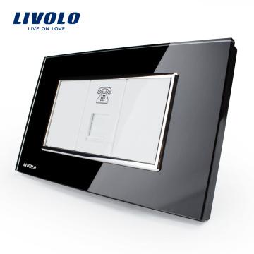 Livolo US Standard Power Socket Telephone Socket With Black Toughened Crystal Glass Panel VL-C391T-82