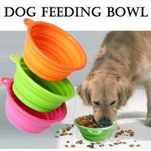 Tigela dobrável do cão do silicone das bacias do animal de estimação do cão do curso da dobradura