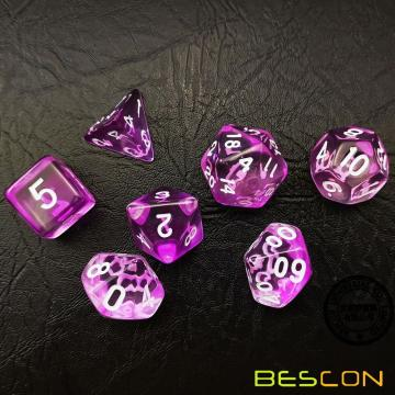Bescon Crystal Purple 7-pc Poly Dice Set, Bescon Polyhedral RPG Dice Set Crystal Purple