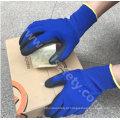Fibra de banboo e Spandex de malha luvas com Microespuma de nitrilo de trabalho revestimento (N1568)