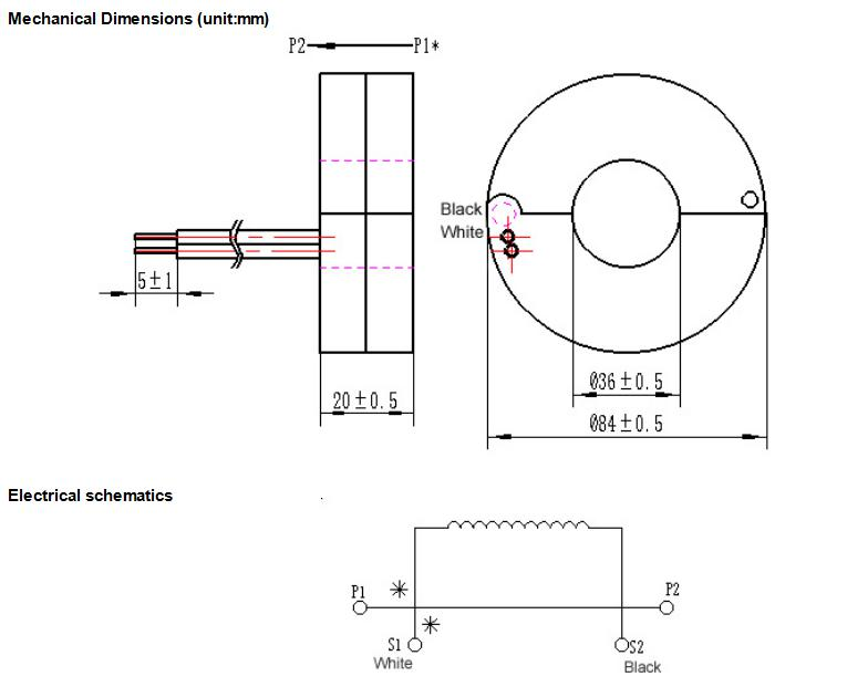 400A:40mA Round Electronic Current Transformer With Clamping Diode