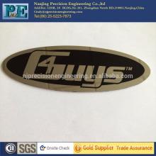jiangsu stainless steel stamping nameplate, mirro polished badge with back sticker, OEM photo etch machining