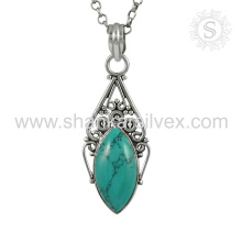 New Arrival Trengy 925 Sterling Silver Turquoise Pendant Grossiste Bijoux Argent Inde