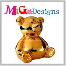 Grande Gold Art Ceramic Cute Bear Money Box para crianças