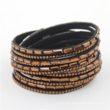 Wholesale Best Gift Latest Wrap Crystal Fashion Bracelets Leather