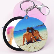 custom printed blank girl photo keychain personalized,pop laser advertising printing women mirror keychain