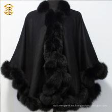 Pashmina caliente del invierno de la cachemira del invierno caliente con la capa mullida del ajuste de la piel de Fox