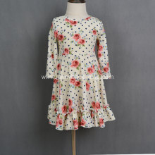 Fashion long sleeve printed knit  baby girl dress