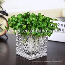 Многие Размер ясный квадратный стеклянный куб ваза/кристалл стекло держатель кандел.
