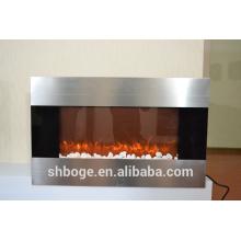 """36 """"em aço inoxidável face decoração chama aquecedor elétrico lareira"""