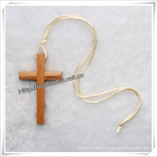 Simple Wood Cross Pendant Necklace, Necklace Jewelry (IO-an082)