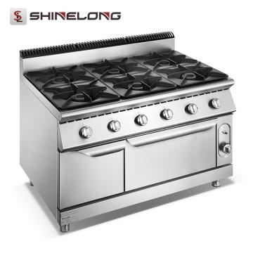 Estufa de Gas comercial de 6 quemadores Furnotel con hornos fabricados en China