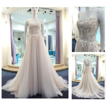 Made in China V-Neck Sleeveless A-Line Champagne Color Hollow Back Lace Appliqued Sequined Tulle Formal Evening Dress A252