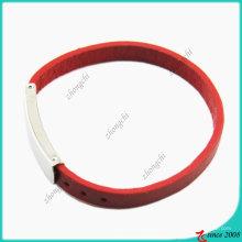 Moda meninas vermelho pulseira de couro genuíno (lb)