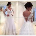 Hot Sale V Neckline Backless Tulle Lace Wedding Dress 2016 Long Sleeve