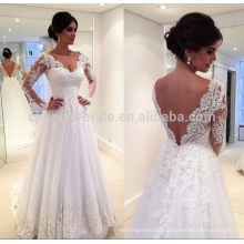 Hot Sale V Neckline Backless Tulle Lace Wedding Dress 2016 Long Sleeve