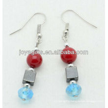 Wholesale red coral with blue crystal ball earring