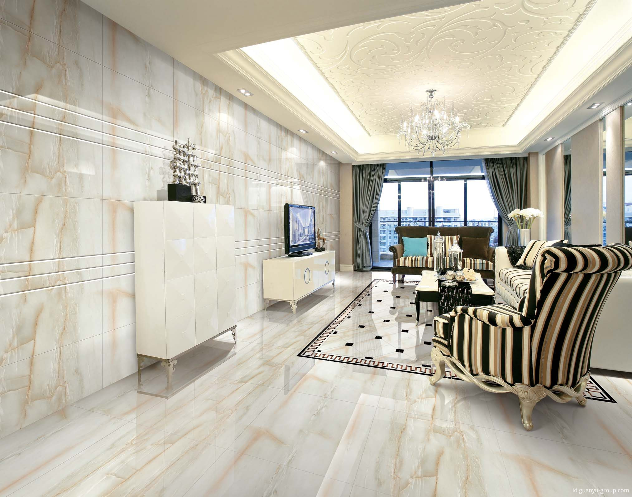 White Marble Pattern Porcelain Floor Tile