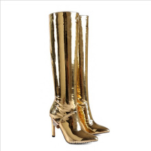 Ladies Boots Knee High Sparkle Genuine Leather Bling Heel Shoes High Heels Pointed Toe Booties Women'S Stiletto