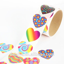 Colorful heart shape pattern paper roll sticker for Children